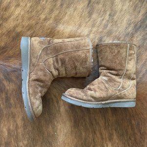 UGG Australia Suede Fur Zip Up Boots Size 8